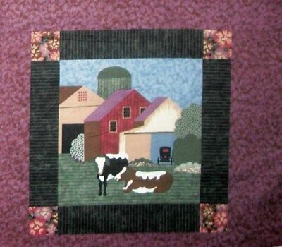 Amish Cow and Barn on Plum Cotton Fabric Pillow Panel