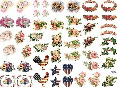 DoLLHouSe MiNiaTureS ReD RoSeS ShaBby WaTerSLiDe DeCALs Découpage DM11