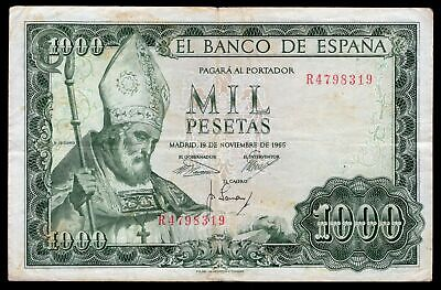 Spain; Banco de Espana. 1,000 pesetas. 19-11-1965. R4798319 (Pick 151b). F-VF.