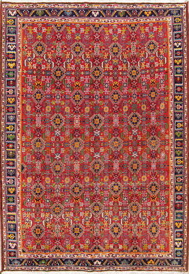Geometric Vintage Vegetable Dye 7x10 Kashkoli Shiiraz Persian Oriental Area Rug