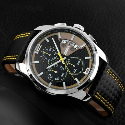 Mens SKMEI Leather Waterproof Sport Watches Luxury Date Quartz Chronograph Watch