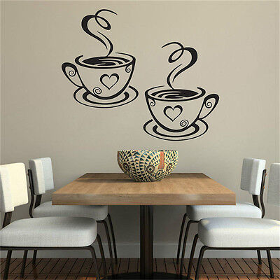 Coffee Cups Cafe Tea Wall Stickers Art Vinyl Decal Kitchen Restaurant Pub DecorY