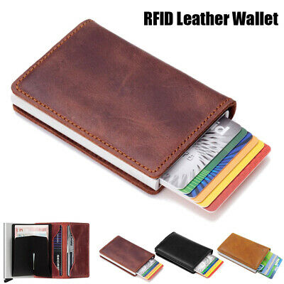 RFID Blocking Wallet Auto Credit Card Holder Pop up Leather Metal Money Clip Men