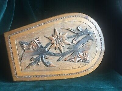 Antique Wooden Collar Box Edelweiss Carving To Lid engraved Kudowa Zdroj