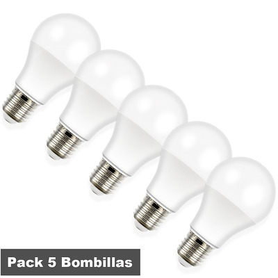 Pack 5 Bombillas LED A60 10W esferica E27 850Lm bajo consumo LED26