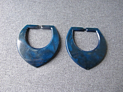 2 Vintage blue celluloid belt buckles lot