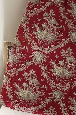 Fabric Antique Rococo Red Ground & Gray printed c1870 toile Chinoiserie design