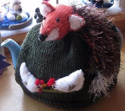 Hand Knitted Woodland  Sly Fox And  Hens Tea Cosy.