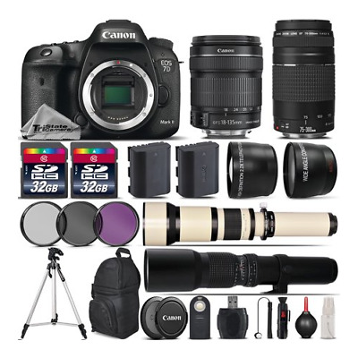 Canon EOS 7D Mark II DSLR Camera + 18-135mm IS STM + 75-300mm Lens - 64GB Kit