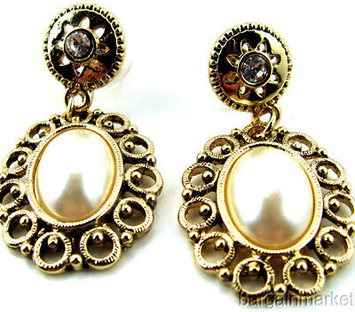 Antiqued Gold Tone Vintage Style Dangle Faux Pearl Earrings
