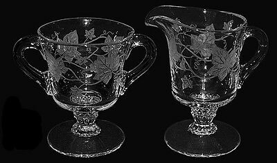 Heisey Plantation Ivy Etched Footed Sugar and Creamer