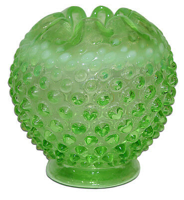 Fenton Hobnail Green Opalescent #389 4 1/2 Inch Rose Bowl
