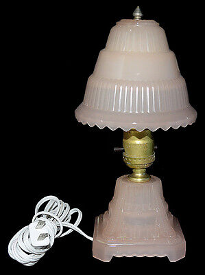 Houze Pink (Coralex) Depression Era Small Deco Bedroom Lamp - BEAUTIFUL