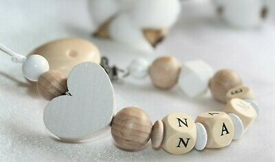 Personalised Wooden Dummy Clip Chain Pacifier Baby Gift Shower/ Silicone dummy