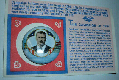 Political Button   THEODORE ROOSEVELT   Campaign 1904 - Reproduction
