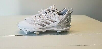 f55adf3f81ff Adidas Power Alley 5 Low Metal Baseball Cleats White/Silver Size 7.5 B39190