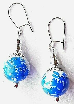 Blue &White Patterned Glass Bead&Silver Plate Earrings With Organza Gift Bag