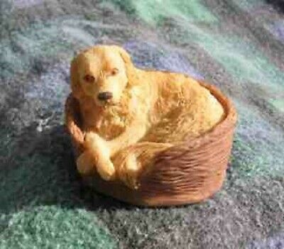 CLEARANCE..Dog Figurine GOLDEN RETRIEVER in Dog Bed by Arista