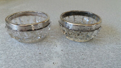 Pair Of Antique Sterling Silver Rimmed Salts  / Cellars / Cruet Dishes 1901