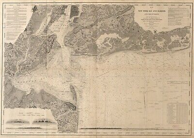 A4 Reprint of Shipping Coastal And Seas Map New York Harbour