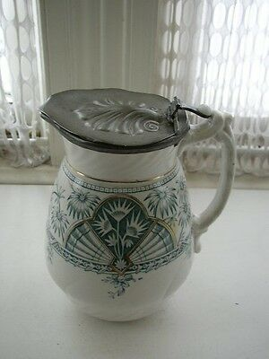 1885 Ceramic RTC Ltd. Hanley, Staffordshire, England 7.5in Pitcher w/ Pewter Lid