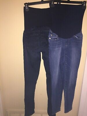 3560e01a9d99b led Luxe Essentials Denim Stretchy Maternity Jeans US 26 EUC lot dark & med  wash