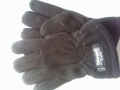 CHILDS THINSULATE WARM THICK FLEECE GLOVES BLACK KIDS BOYS  age 6 - 8 yrs NEW
