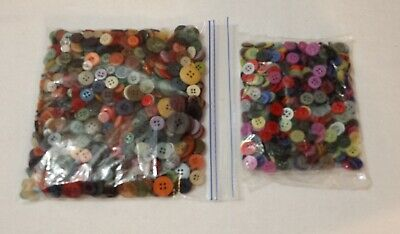 Over 1000 SEWING BUTTONS Assorted colors sizes Plastic+ CRAFT BUTTONS