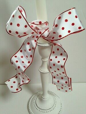 FUNKY DOTS Glittery spots on white sateen Christmas Luxury Wire Edge Ribbon