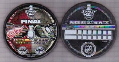 2008 DETROIT RED WINGS vs PITTSBURGH PENGUINS STANLEY PLAYOFF PUCK - #AAL