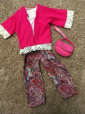 "NEW Journey Girls 18"" Doll Clothes lot Pink Purse Paisley Pants Jacket"