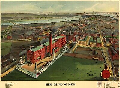 A4 Reprint of Old Maps Birds Eye View Of Boston Ma Late 1902 Map