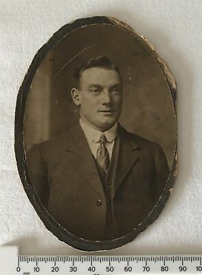 Antique Oval Late Victorian or Edwardian Photo Suited Gent Photographer Unknown