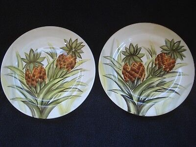"Tabletops Unlimited ""Maui"" Handpainted Dinner Plates Set of Two 10.5"" New"