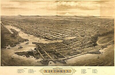 A4 Reprint of Old Maps 1878 Birds Eye Views Victoria America Vancouver
