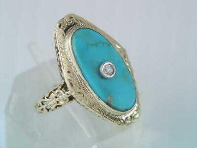 ANTIQUE Art Deco LARGE 14K GOLD FILIGREE TURQUOISE DIAMOND RING LOOK