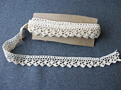 Antique clear & darker creamy crochet lace trim edging unused 2 & 1/2 yards long