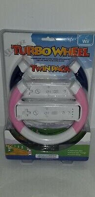 NEW dreamGEAR Turbo Wheel Twin pack Pink & Blue for Nintendo Wii Racing games