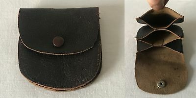 Vintage 1950's Small Leather Pop Stud Coin Purse With 3 Separate Compartments