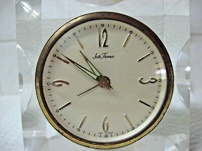 Vintage SETH THOMAS lucite square frame alarm clock GERMANY not working AS IS