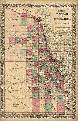 A4 Reprint of American Cities Towns States Map Kansas Nebraska