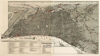 A4 Reprint of Old Maps 1888 Birds Eye View Philadelphia