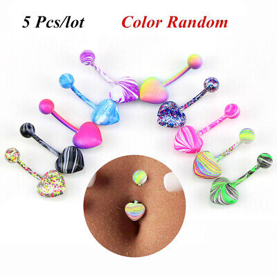 5 Pcs/set Belly Button Navel Ring Bar Bars Body Piercing Jewellery Rings Makeup
