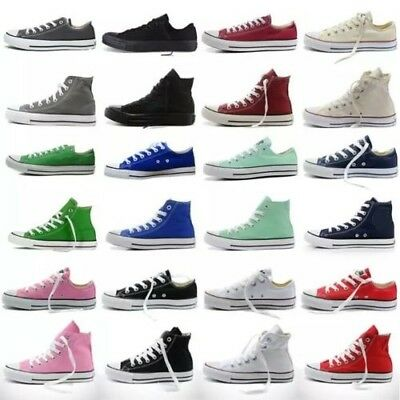 Women Ladies classic Authentic Trainer Low High Top Shoes Casual Canvas Sneakers