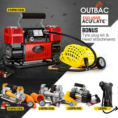 OUTBAC Portable Air Compressor Electric 12v Tyre Inflator Car Pump 4WD Tire For