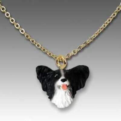 Dog on Chain PAPILLON BLACK Resin Dog Head Necklace Jewelry Pendant