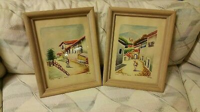 Vintage Pair of Taxco Mexico Watercolors Signed and Framed
