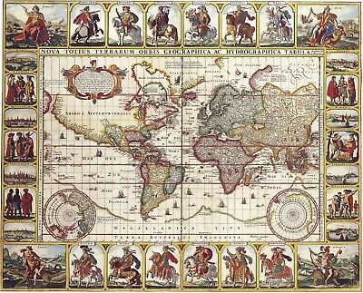 A4 Reprint of Old Maps Old Map Of Various Parts Of The World Reprint 13