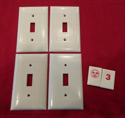 4 Switch Plates Bakelite Ivory Ribbed Cover Single Gang Sierra Vtg Deco - Rj3