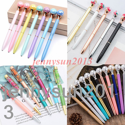 Multicolor Rotary Metal Ballpoint Pens Pearl Dried Flowers Decor Kids Stationery